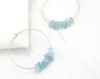 Raw Aquamarine Hoops, Rose Gold Hoop Earrings, March Birthday Gift, Hoop Earrings With Stones, Charm Hoops, Healing Crystal Jewelry, Boho