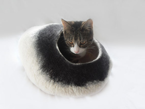 Cat Bed Cave Cocoon House with toy ball in black and white pet bedding