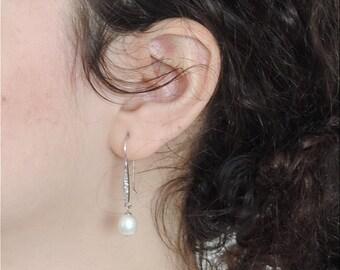 White Pearl Sterling Silver Earrings, Christmas Gift, Pearl Earrings, Bridel Earrings, Freshwater Pearl, Womens Jewelry, Gift For Her