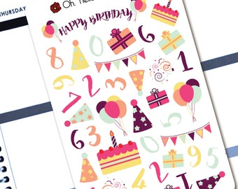 Birthday Party Celebration Decorative Set  - Planner Stickers for Erin Condren Life Planners - K8