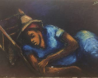 "Vintage Original Haitian Painting | 16""x24"" Sleeping Merchant 1969 Oil on Canvas by Nehemy Jean 