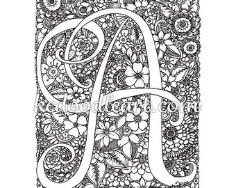 instant digital download - coloring page - Letter A with flower designs