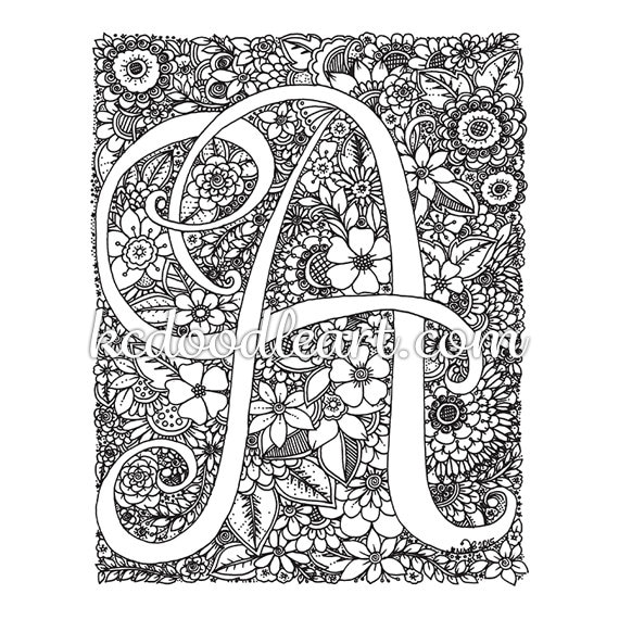 instant digital download coloring page Letter A with