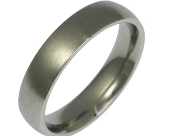 5mm Brushed Stainless Steel Mens Comfort Fit Wedding Band Ring, Mens Wedding Rings, Brushed Stainless Steel Mens Ring, John S Brana