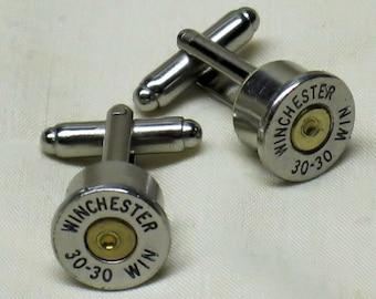 Mens Bullet Cufflinks 30-30 Winchester Nickel - Wedding Gifts Bullet Cuff Links