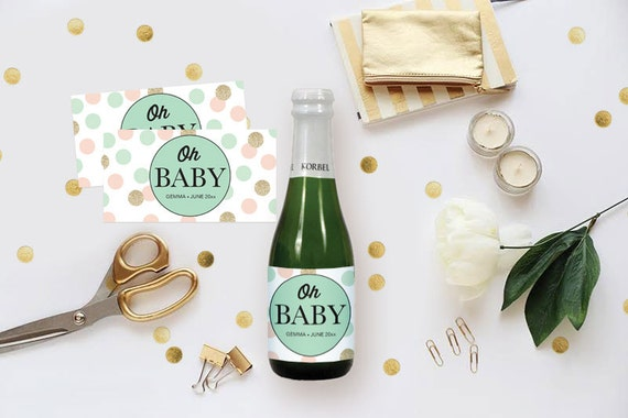 Diy Champagne Label  Editable Ms Word Template Gender Neutral Baby