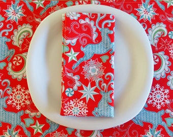 Christmas Reindeer Napkins (4) with Snowflakes and Peppermint in Aqua Blue, Red and White, Contempo Nordic Holiday, Large Dinner Napkins