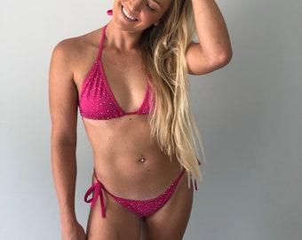 Pink Sparkly Crystal Rhinestone Bukini Set Small / Medium