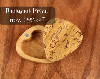 DISCONTINUED - REDUCED PRICE Slender Guitar Pick Box, Music Notes, 2-1/4