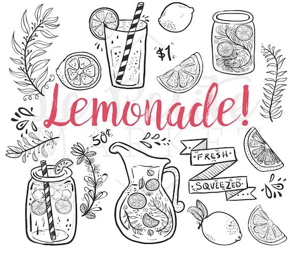 Doodle mano dibujado limonada verano Clip Art Clipart de