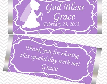 Kneeling Girl Purple Baptism Christening First Holy Communion - Personalized Candy Bar Wrapper