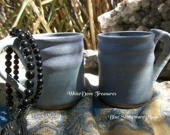 Blue Stoneware Mugs ~ Obsidian Bead Japa Mala Bracelet ~ His & Hers Unisex Bracelet ~ Vintage Choice