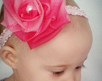 pink rose baby headband, baby rose headband, big rose headband, infant headband, flower baby headband, rose headband, rose flower headband
