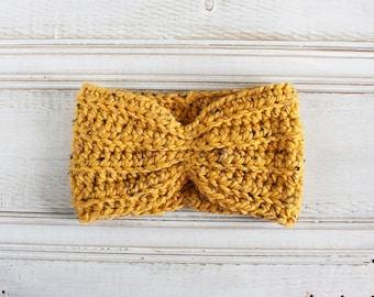 Chunky Crochet Turban Headband in Mustard Tweed, Ear Warmer, Gift for Teen, Gift for Mom, yellow
