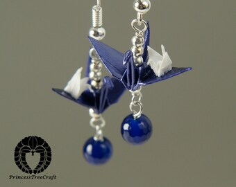 Origami jewelry, Origami earrings, Origami mom and baby crane earrings with blue agate gemstone, Navy blue (royal blue) mom and white baby