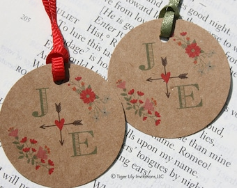 Rustic Wedding Favor Tags or Gift Tags in Kraft with printed Monogram and Floral Design
