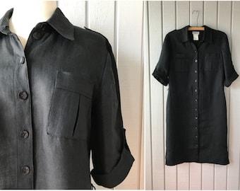 1980s Linen Dress | Button Front Dress | Black Linen Dress | 1980s Dress | 1980s Clothing | Vintage Clothing