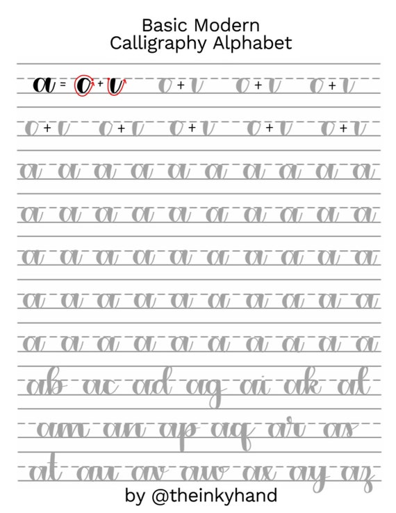 Intermediate Fancy Brush Lettering Worksheets Calligraphy
