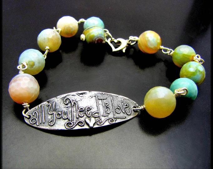 LOVE ~ Faceted Fire Agate, Sterling Silver Bracelet