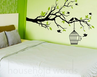 Nursery Wall Decal, college apartment decor, Office Decals, Big Tree Branch Vinyl Wall Decal, Bird cage decal, living room wall decal