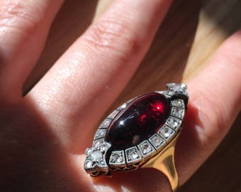 Victorian garnet and gold convertible ring to brooch