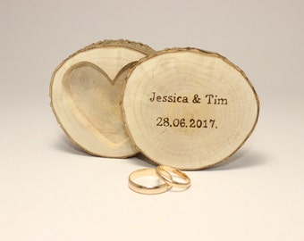 Personalized wooden ring box | Rustic ring holder | Rustic wedding decorations | Ring pillow alternative