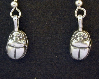 Sterling Silver Scarab Earrings on a Sterling Silver French Wires