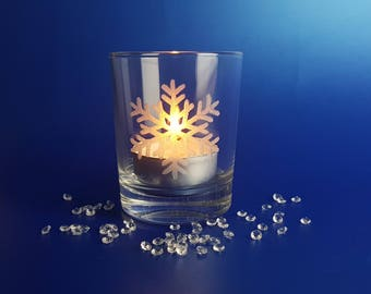 Snowflake/  Tealight holder/  Hand Engraved/  Christmas/  Gift for her/  Birthday/  Bridesmaid Gift/  Candles/  Present/  shot glass