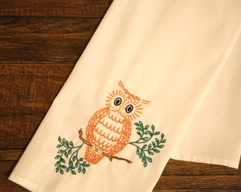 Embroidered Owl Dish Towel