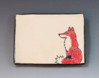 Handbuilt Ceramic Soap Dish with Fox