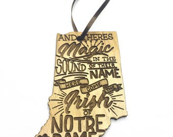 Personalized Ornament, Notre Dame Inspired, Engraved Wood Ornament, Notre Dame Fighting Irish Ornament