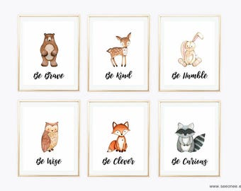 5x7 INSTANT DOWNLOAD Woodland animals nursery art printable, Set of 6 forest animals wall art print digital file, be kind be curious poster