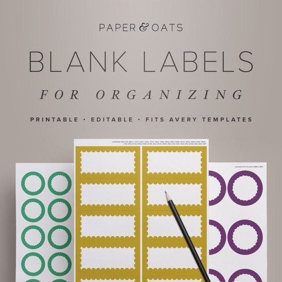 Printable Blank Labels For Organizing Editable Kitchen Pantry