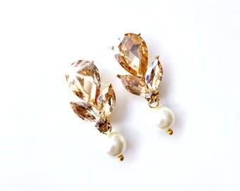 Earrings - Pear Champagne Crystal Earrings - Ivory or White Pearl - Gold Teardrop Crystal Earrings - Marquise Topaz Crystal
