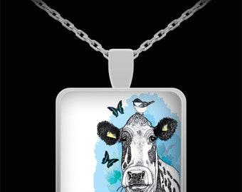 Cow Necklace, Dairy Cow, Holstein, Cow pendant, chickadee and butterfly, cow lover gift, Farm, silver plated necklace, 22 inch chain