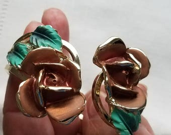 Gold edged ROSE with green, clip on earrings