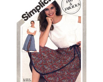 80s Pullover Top, Wrap Skirt Pattern Simplicity 5319 Reversible Skirt Womens Size 6 to 20 Vintage Sewing Pattern