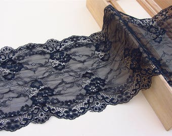 "Black lace,Stretch Lace Trim - Extra Wide Lace Trim, 7.87"" Wide Lace Trim-black trimming"