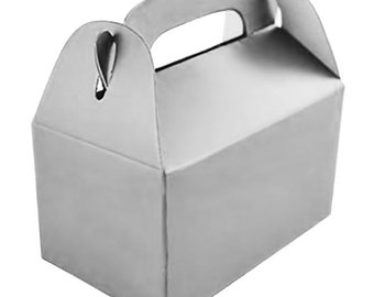 Silver Cardstock Favor Boxes - Set of 6 - 3 x 1.75 x 3 Inches - for Party Favors, Showers, Weddings and More