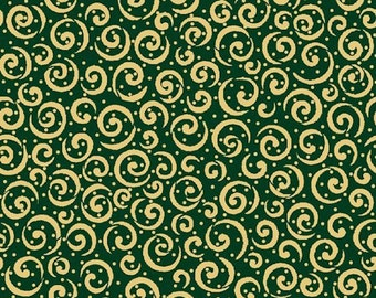 Quilting Treasures Holiday Metals, Gold Metallic Scrolls on Green Fabric