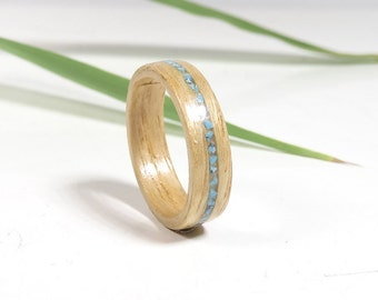 Wood ring From olive ash and Turquoise inlay // Turquoise jewelry //  Ring for women // Wooden Jewelry // Engagement ring