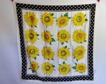 """Vintage scarf Spotty Dotty Sunflowers  86cm x86cm / 33.8"""" x 33.8"""""""