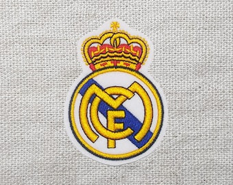 Real madrid logo etsy real madrid logo soccer football sew on embroidered patch 24x35 voltagebd Choice Image