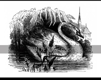 Instant Digital Download, Vintage Victorian Graphic, Swan Lake Book Engraving, Castle Antique Print Printable Fantasy Scrapbook, Fairy Tale