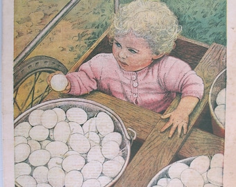 1950, French review, RUSTICA, Children, Easter Eggs picking in a farm, antique French country illustration