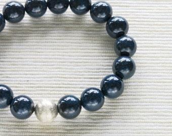Chrysocolla Bracelet . stacking dark blue chrysocolla sterling silver bracelet jewelry
