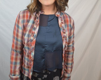 Vintage 80s Button Up Plaid Country Ruffle Top Shirt