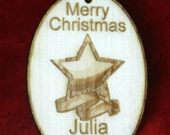 Personalized wooden christmas star ornament tag