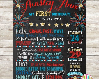 1st Birthday Chalkboard, Digital File, Birthday Stats Photo Prop, Personalized Poster, Fireworks, Firecreacker, Milestone Board, 4th of July