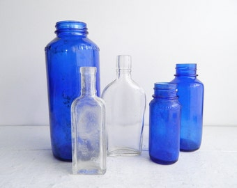 Vintage Clear & Cobalt Blue Bottle Collection, Small Apothecary Bottles, Set of 5, Coastal Home Decor Display